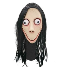 Death Game MOMO Mask No Bang Style Big Eye Scary Mask Tern Halloween Female Ghost Wig Masks Festival Party Playing Supplies tern link b7