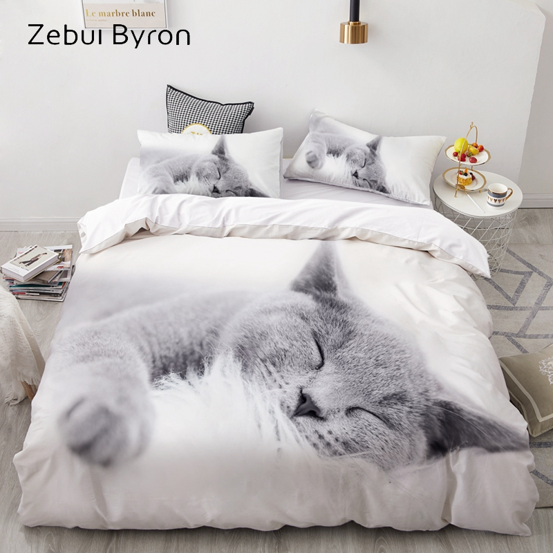 3D Luxury Bedding Set Custom/King/Europe/USA,Duvet Cover Set,Quilt/Blanket Cover Set,Bed Set Animal Pet Lazy Cat,drop Ship