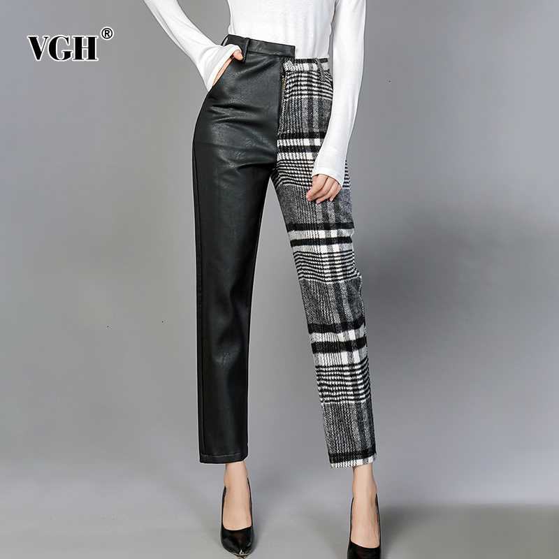 VGH Patchwork Plaid PU cuir pantalon pour femmes taille haute Hit couleurs asymétrique cheville longueur pantalon femme 2019 mode marée