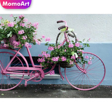 MomoArt Diamond Painting Bicycle Embroidery Landscape Cross Stitch With Diamonds Picture Of Rhinestones DIY Mosaic Handmade
