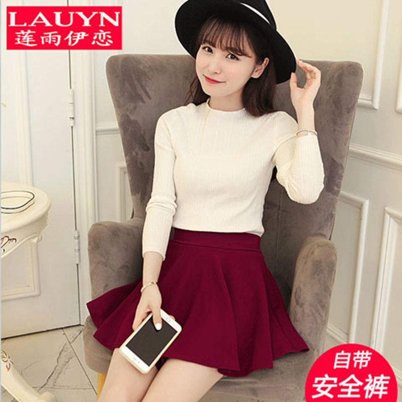 Skirt + Safety Shorts Autumn And Winter High-waisted Short Skirt Pleated Black Dress Large Size Anti-Exposure Puffy A- Line Larg