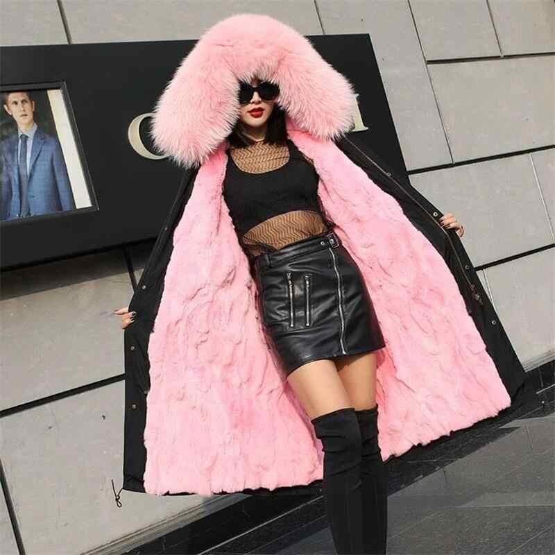 非常に暖かいリアルキツネの毛皮のコート女性の冬のミンクコート 2019 ヨーロッパスタイルの冬の女性コディアックロングパーカー暖かい冬の女性上着