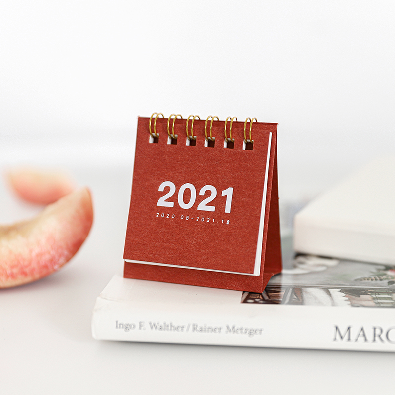 2021 Simple solid color mini Desktop Paper simple Calendar dual Daily Scheduler Table Planner Yearly Agenda Organizer 4