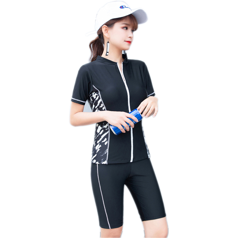 3 Colors Female Zipper Swimwear for Women Two Piece Swimsuits Short Sleeve Tops + Long Shorts Bathing Suits Lady Swimming Suits Beach Wear