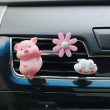 Bonito porco carro ambientador ar condicionado tomada de ar decoração acessórios do carro interior do carro aromaterapia clipe perfume