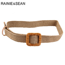 RAINIE SEAN Straw Braided Belt Women Knitted Solid Khaki Bohemian Belts for Square Buckle Summer Ladies Dress Waist