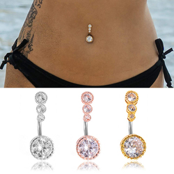 1pc Sexy Navel Piercing Belly Button Rings Bar Crystal Zircon Dangling Ombligo Party Stud Barbell for Woman Body Jewelry 14g