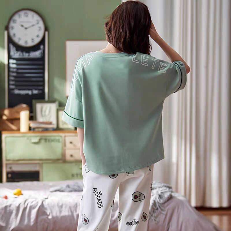 봄 코튼 만화 잠옷 세트 여성 잠옷 짧은 소매 및 바지 Homewear 숙녀 2020 여름 캐주얼 가정 의류 여성