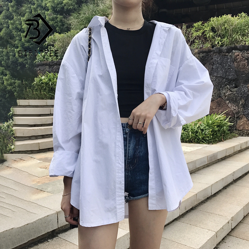 New Arrival Women Batwing Sleeve Oversize Cotton White Shirt Turn-down Collar Button Up Basic Chic Blouse Feminina Blusa T9N702F