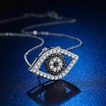 Huitan Punk Black and White Devil Eyes Charms Necklace Women Fashion Jewelry Micro Paved CZ Stones ExaggeratedShape Wholesale 1