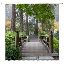 Деревянный мост душ Шторы Декор Форест Грин листья деревьев