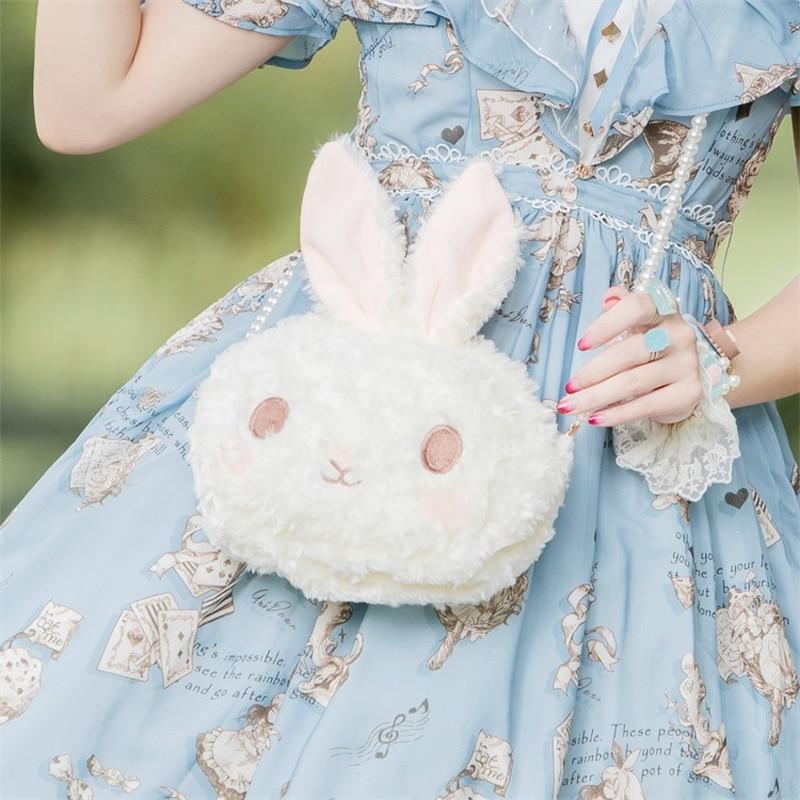 Lolita Rabbit Bag Plush Original Design Pearl Chain Messenger Bag  Doll Cute Lolita Lo Mother Shoulder Bag
