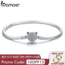 BAMOER 100% 925 ayar gümüş sevimli kedi ışıltılı CZ yılan zincir zinciri bilezikler kadınlar için gümüş takı SCB053