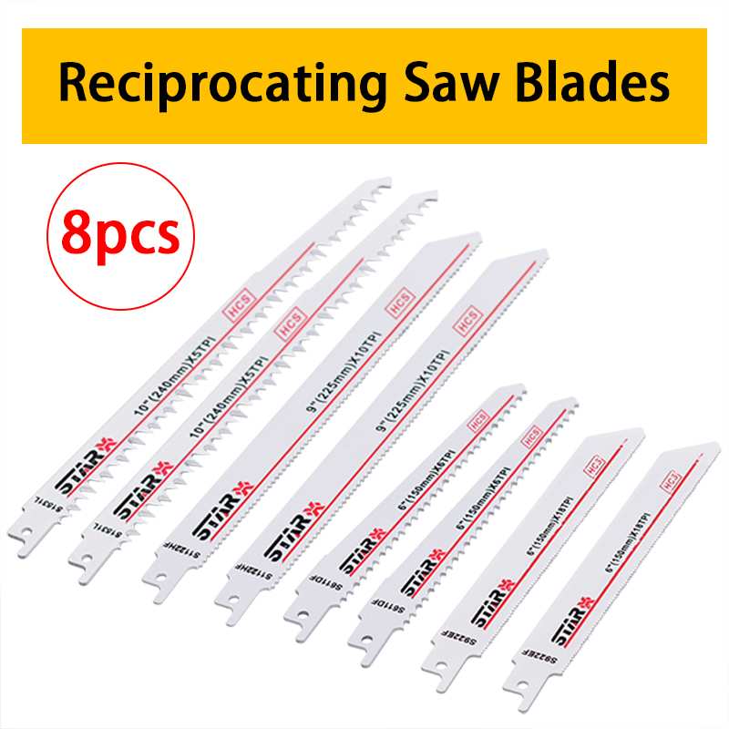 8pc/Set HCS Reciprocating Saw Blades Wood Metal PVC Cutter Blade For Bosch Makita Hitach Power Tools Accessories