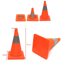 70cm Telescopic Road Folding Cone Safety Reflective Triangle Cone Car Military Portable Telescopic Warning Emergency Road Cone
