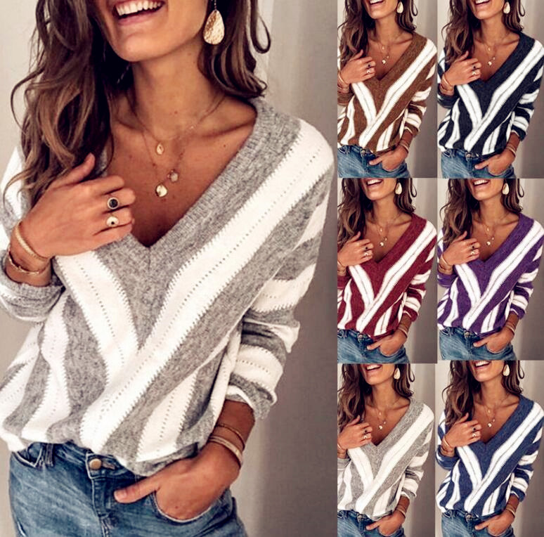 2020 Winter Spring Sweater Women Knitted Tops Strip Plus Size Casual Long Sleeve Pull Female Solid Sexy Sweaters Pullovers