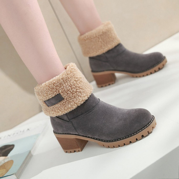 Women's Suede Snow Boots Winter Cotton Shoes High Heeled Shoes  Warm Plush Faux Fur Ankle Boots  Double Wear Plush Thermal Boots 11