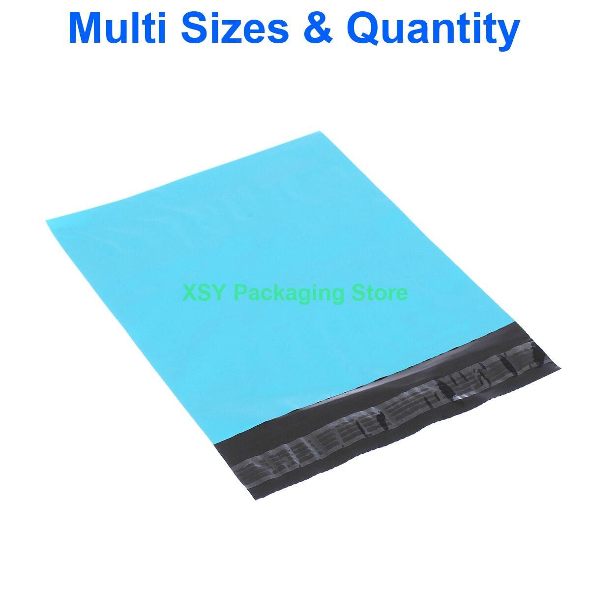 """Разные размеры синие не объемные конверты полиэтиленовые почтовые пакеты (ширина 8 """"-12,5"""") x (длина 8,5 """"-15"""") eq. (200-320 мм) x (220-390 мм)"""