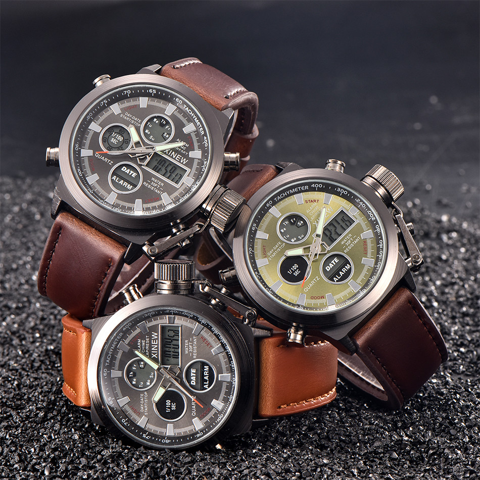 Man watch leather brand watch Mens Quartz wristwatches Sport Military LED Watches Analog Quartz Wristwatch relogio masculino 10X