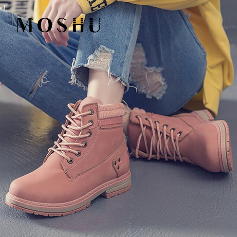 Winter Boots Women Lace up Black Ankle Boots Snow Warm PU Leather Botines Ladies Plush Platform Boots Waterproof Sneakers 2019