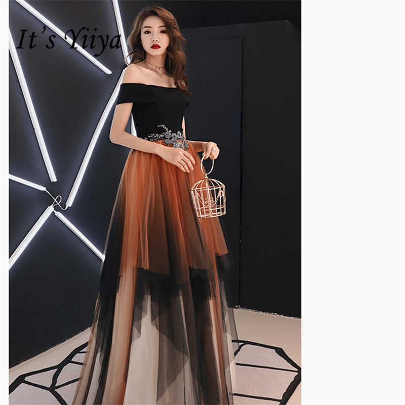 It's Yiiya Evening Dress Short Sleeve Tiered Crepe Robe De Soiree Crystal Off Shoulder Floor-Length Women Party Dresses E867