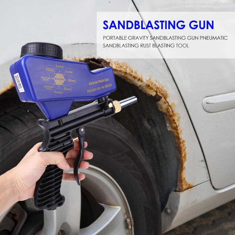נייד כף יד הכבידה פנאומטי התזת חול אקדח חול חלודה פיצוץ מכשיר קל משקל מהיר ואפילו חיסכון קל