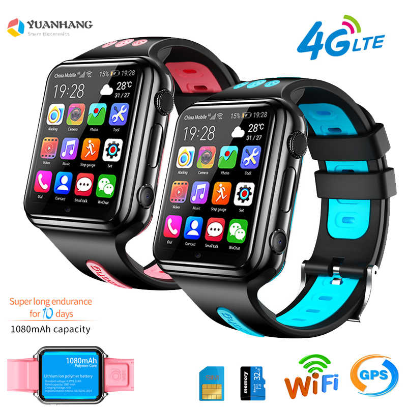 Smart Gps Wifi Locatie Student Kids Telefoon Horloge Android 9.0 Klok App Installeren Bluetooth Remote Camera Smartwatch 4G Sim kaart