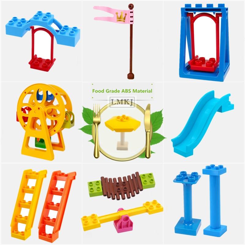 Building Blocks Big Size Accessories Toys For Children Ferris Wheel Slide Swing Bridge Stairs Bricks Compatible With Duploed