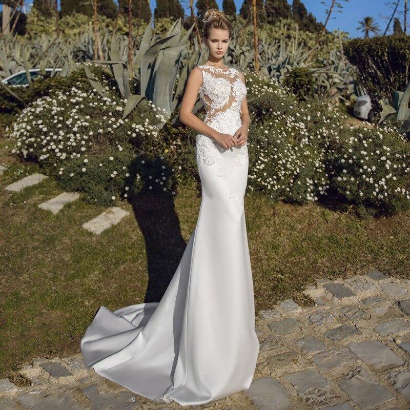 Eightale Mermaid Wedding Dress O-Neck Appliques Custom Made Boho Wedding Gowns Satin White Bride Dress Vestido De Noiva Sereia