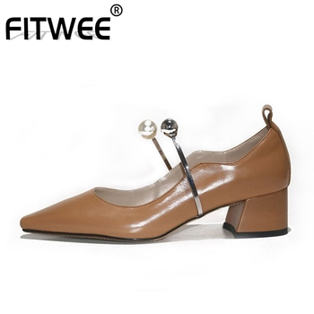 FITWEE New Arrival Women Pumps Fashion Crystal Square Toe Women Shoes Solid Color Thick Heel Wedding Mujer Zapatos Size 34-39