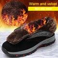 Мужская зимняя безопасная обувь  теплые рабочие ботинки со стальным носком  устойчивые к царапинам  промышленные  бархатные