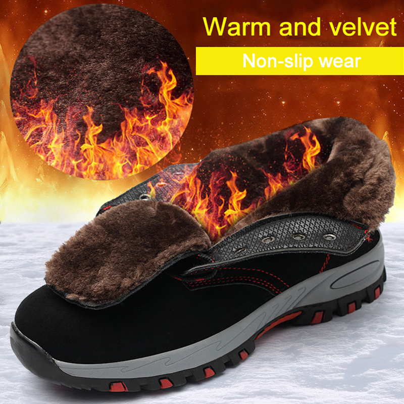 Winter Safety Shoes Men Steel Toe Keep Warm Work Boots Anti Smashing Anti Piercing Industrial Velvet Cold Resistant