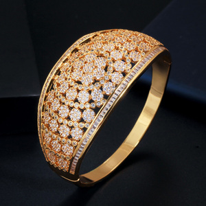 Image 5 - CWWZircons Glitter Indian Gold Color Micro Pave Cubic Zirconia Fancy Flower Large Wide Statement Bridal Wedding Bangles BG037