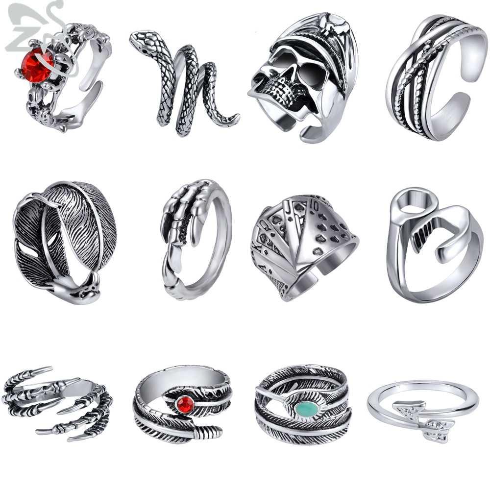ZS 20 estilos gótico Punk Rock aleación abierto anillo de calavera para hombre anillo de serpiente para dedo Unisex Hip Pop joyas para el dedo anillos mujer