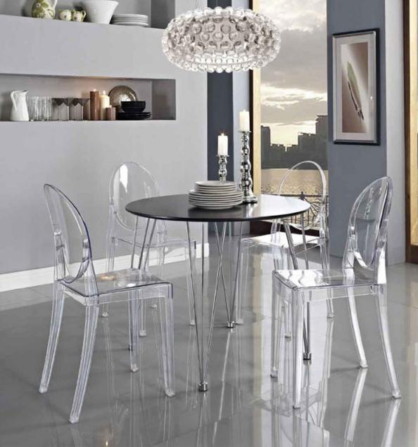 Chaise à manger moderne en plastique, TRANSPARENT GHOST chaise à manger transparente en plastique/fauteuil de toilette vanité 4 pièces