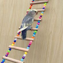 Попугай игрушки Лестница подъем из натурального дерева Птица Животное попугай подвесная клетка лестница J6PD