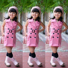 1-6Years Baby Girl Kids Sleeveless Waistsuit Jacket Outfit Clothes Tops 1-6Y
