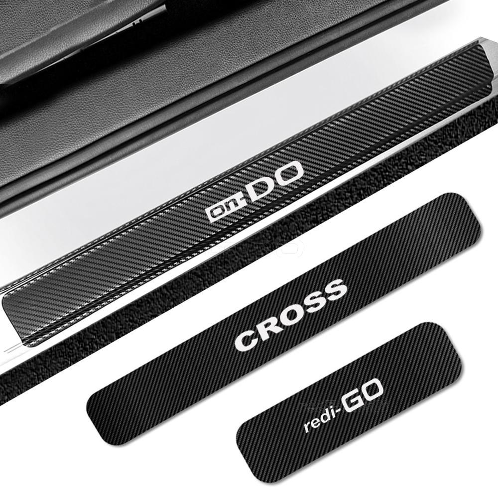4 шт. порога пластина наклейки для DATSUN mi-DO on-DO GO Реди-GO крест порог протектор наклейки на авто тюнинг аксессуары
