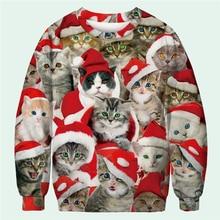 Winter Autumn Pullover Women 3D Print Christmas Hat Personality Cat Sweatshirt Casual Streetwear Womens Kawaii Plus Size M-3XL