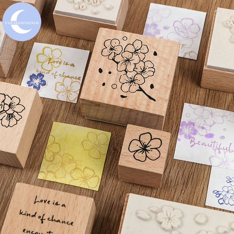 YueGuangXia Sakura Retro Log Plan Clear Wooden Rubber Seals For DIY Label Ancient Scrapbooking Decoration Standard Wooden Stamps