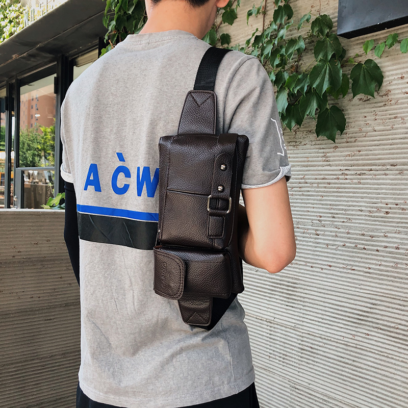 Men's Tactical Waist Bag PU Leather Women Fanny Pack Hip Hop West Street Function Chest Bags Shoulder Crossbody Banana Belt Bag