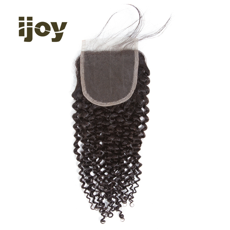 【IJOY】Kinky Curly 8''-20'' H Brazilian Non-Remy Hair Natural Color Closure 100% Human Hair 4x4 Lace Closure 1 Closure Pack