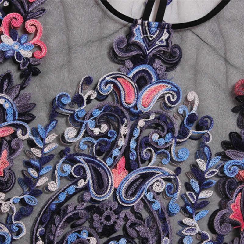 פרח רקמת רשת חולצה בציר סקסי יבול למעלה 2019 נשים Boho חולצות שחור קצר שרוול חולצה דק טוניקת חולצה