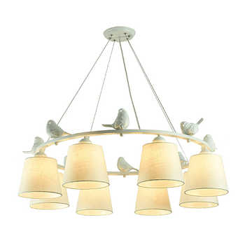 BOTIMI White Birds LED Chandelier with Linen Lampshades E27 Cloth Chandeliers For Living Room Romantic Kitchen Lighting Fixtures