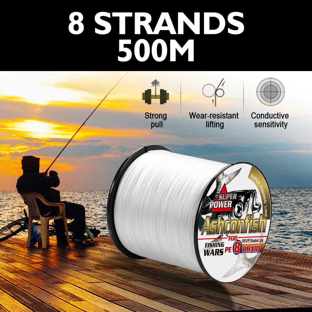 Linha de pesca japonesa 500-0.63mm do multifilament da linha de pesca 130-300lb do longline super 1.0m que pesca 8 fios cabos de pesca