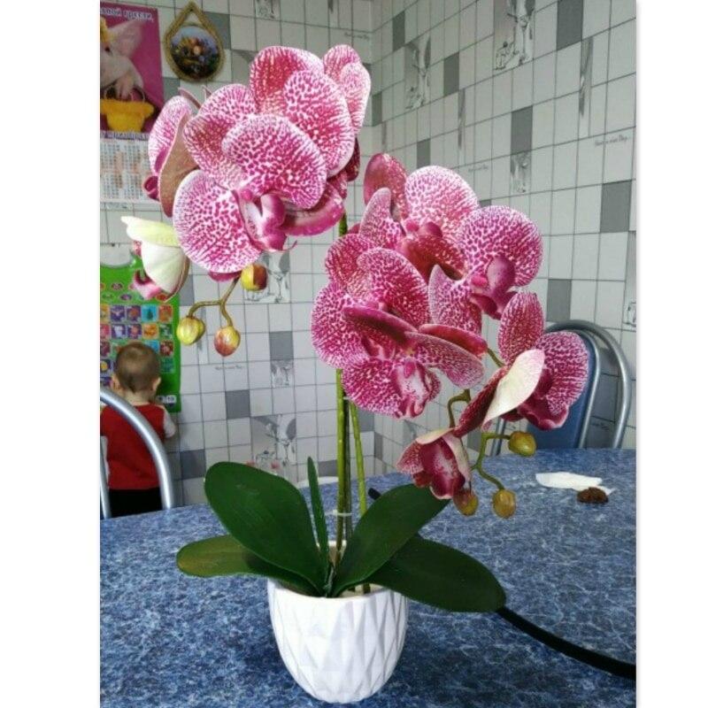 3D настоящие на ощупь цветы для домашнего декора, Искусственные бабочки, орхидеи, цветы для дома, свадьбы, украшение «сделай сам», искусствен...