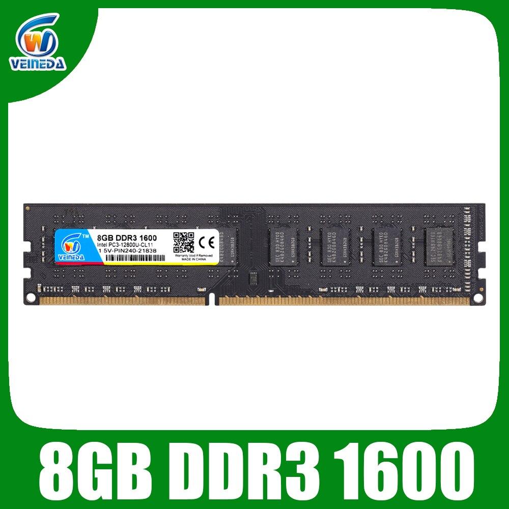 Veineda ddr3 4 gb 8 gb memoria ram ddr 3 1333 1600 para todos ou para alguns amd desktop PC3-12800 compatível 2 gb novo