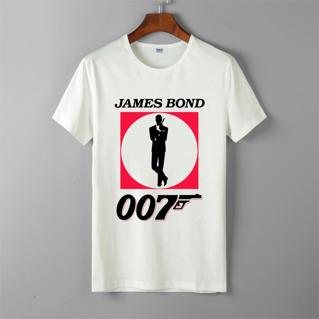 new james bond 007 movie logo t-shirt men's new fashion cotton short sleeves tops tee printed unisex casual t-shirt image