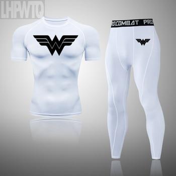Wonder Woman Men's full Suit Compression Sport Suit Gym joggers Running Short sleeve Shirts leggings Basketball sportwear 18