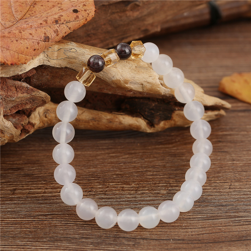 7mm Natural White Chalcedony Bracelets & Bangle For Women Jewelry Buddha Elastic Yoga Stone Bead Bracelet Drop Shipping 3